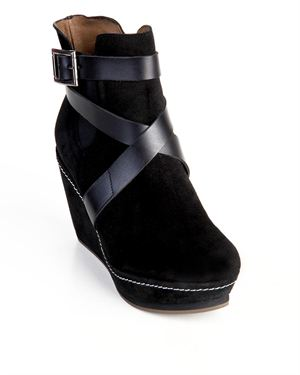 Troppa Leather Crossed Straps Embellished Wedge Booties Made In Spain