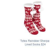 Totes Reindeer Sherpa Lined Socks $24