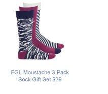 FGL Moustache Cotton 3 Pack Sock Gift Set $39