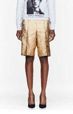 OSTWALD HELGASON Gold & Taupe Brocade Shorts for women