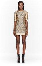 OSTWALD HELGASON Grey & Gold Brocade Dress for women