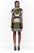 OSTWALD HELGASON Olive & khaki Striped Dress for women