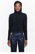 OSTWALD HELGASON Navy Eyelash Yarn Tinsel Sweater for women