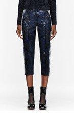 OSTWALD HELGASON Navy & Royal Blue Brocade Trousers for women