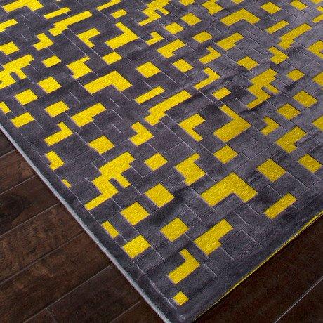 Machine Made Art Silk //  Chenille Pixel Rug // Yellow