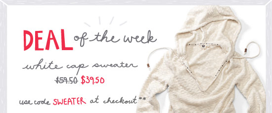 Deal of the week - White Caps Sweater $39.50