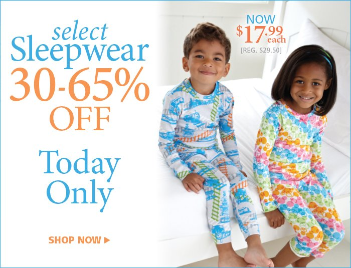 Save 30% to 65% on select sleepwear today only
