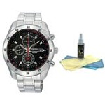 Seiko SNDC49P1 Men's Black Dial Stainless Steel Bracelet Chronograph Watch with 30ml Ultimate Watch Cleaning Kit