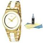 Swatch YLG122G Women's Yellow Pearl White Dial Two Tone Bracelet Watch with 30ml Ultimate Watch Cleaning Kit
