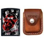 Zippo 6510 Classic Rolling Stones Tongue Black Matte Finish Windproof Lighter with Zippo Brown Leather Clip Pouch