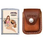 Zippo 7774 Classic Pin-Up Girl-1970's Street Chrome Windproof Pocket Lighter with Zippo Brown Leather Clip Pouch