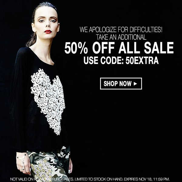 Shop the sale on sale at Boutique To You! Take an extra 50% off with code 50EXTRA.