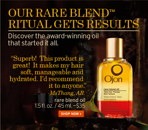 OUR RARE BLEND RITUAL GETS RESULTS Discover the award winning oil  that started it all Superb This product is great It makes my hair soft  manageable and hydrated I would recommend it to anyone MsThang AR rare  blend oil SHOP NOW
