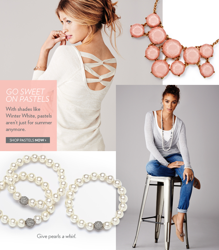 Go sweet on pastels. With shades like winter white, pastels aren't just for summer anymore.