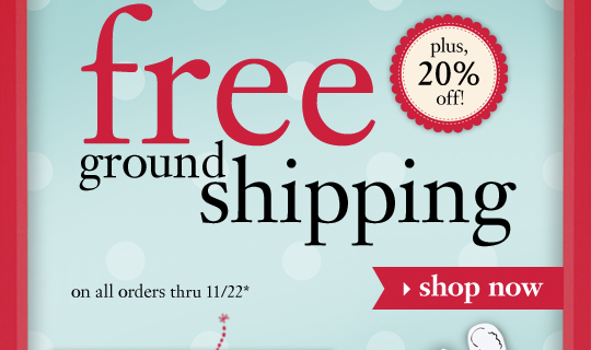 free ground shipping plus, 20% off! on all orders thru 11/22*