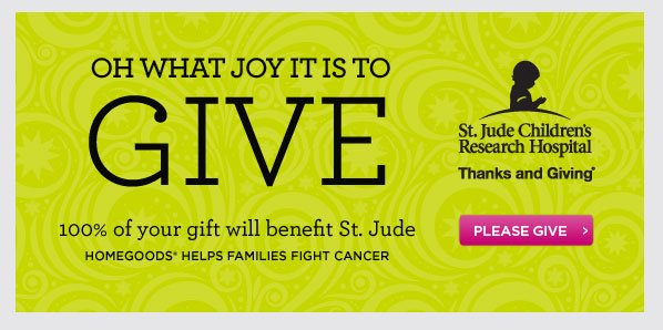 Oh  what joy it is to Give. 100% of your gift will benefit St. Jude. Please  Give.