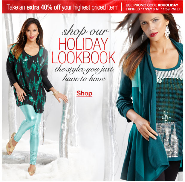 Take an Extra 40% off your highest priced item! Use RDHOLIDAY