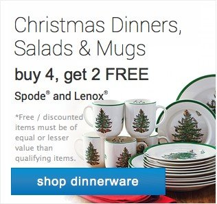 Christmas Dinner, Salads and Mugs. Buy 4 get 2 free. Shop dinnerware.