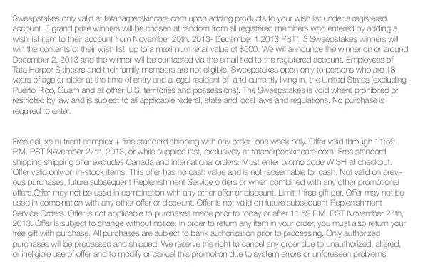*Offer valid through November 27th, 2013 at tataharperskincare.com