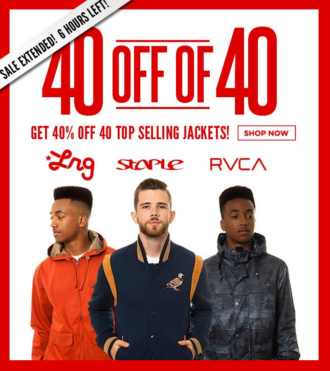 Get 40% Off 40 Top Selling Jackets!