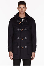 A.P.C. Navy wool hooded UK Duffle coat for men