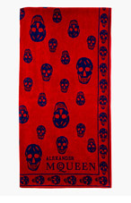 ALEXANDER MCQUEEN Red & blue SA SKULL TOWEL for men