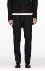 BALMAIN Black pleated HAREM trousers for men