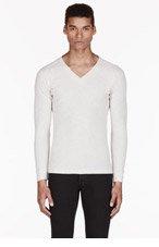 DIESEL Light grey V-NECK T-SHIRT for men