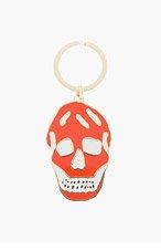 ALEXANDER MCQUEEN Orange enamel skull keyring for men