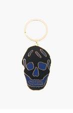 ALEXANDER MCQUEEN Black enamel skull keyring for men