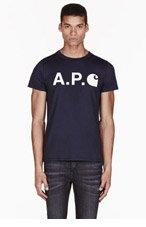 A.P.C. Navy Carhartt edition Logo T-shirt for men
