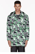 VERSUS Green signature print Hooded M.I.A edition TRENCH COAT for men