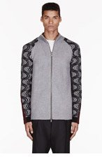 DAMIR DOMA Grey PATTERNed SLEEVE KAICA CARDIGAN for men