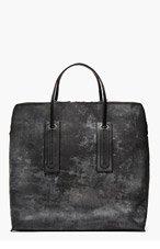 RICK OWENS BLACK Mottled & etched SQUARE tote BAG for men