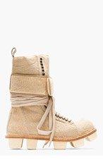 RICK OWENS Beige calf-hair PLINTH HIKER boots for men