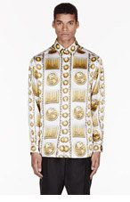 VERSUS White & gold silk medallion-print M.I.A edition SHIRT for men