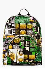 VERSUS Green Multicolor Canvas M.I.A edition Logo-Printed Backpack for men