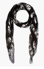 ALEXANDER MCQUEEN Black & white FO SKULL scarf for men