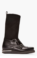 VERSACE Black shearling & leather country boots for men