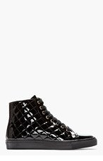 VERSUS BLACK patent leather QUILTED SNEAKERS for men