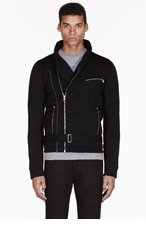 BALMAIN Black knit QUILTED ZIP-UP for men