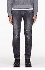 BALMAIN Grey ripped & Ribbed biker jeans for men