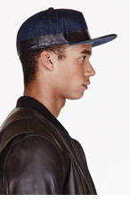 DIESEL Black & blue coated denim baseball CAP for men