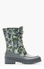 WHITE MOUNTAINEERING Grey & Green camo Tretorn edition long boots for men
