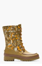 WHITE MOUNTAINEERING Orange & olive camo Tretorn edition long boots for men