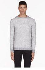 DIESEL Grey marled WAFFLE cotton CREWNECK for men