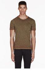 DIESEL Khaki SIDE-POCKET T-SHIRT for men