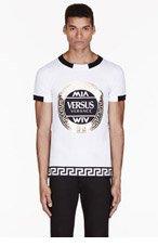 VERSUS White & gold foil M.I.A edition LOGO T-shirt for men