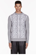 DAMIR DOMA Grey merino & cashmere PYTHON patterned KORO sweater for men