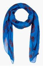 ALEXANDER MCQUEEN Royal blue & burgundy silk FO SKULL scarf for men